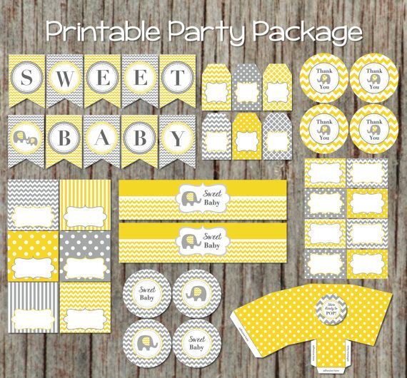 Baby Shower Party Package Yellow Grey Decorations by BumpAndBeyondDesigns, $23.00