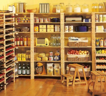 Minus the wine that is a freaking awesome pantry! Oh to have space enough to have a pantry like that!