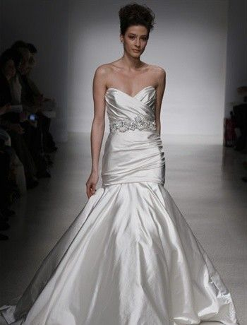 Bridal Gowns: Kenneth Pool Mermaid Wedding Dress with Strapless Neckline and Dropped Waist Waistline