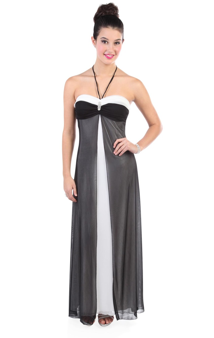two tone halter long prom dress with flyaway front accent $72.50