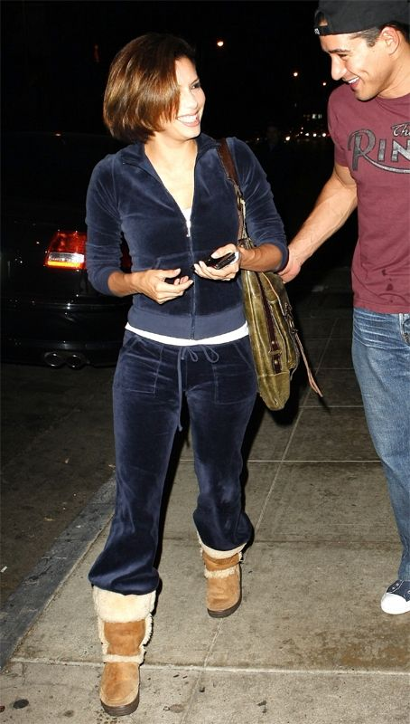 Juicy Couture velour tracksuits were very popular in the 2000s. They showed a casual side of celebrities and were most times worn with UGGs.