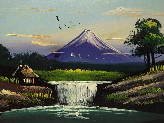 Antique Miniature Oil Painting Postcard Mount Fuji Traditional