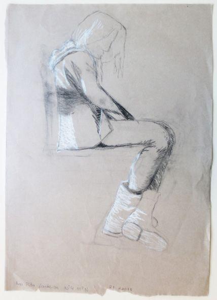 Ana Rita Ladeira : Carvão e pastel branco s/ papel kraft, ± 594 x 420 mm