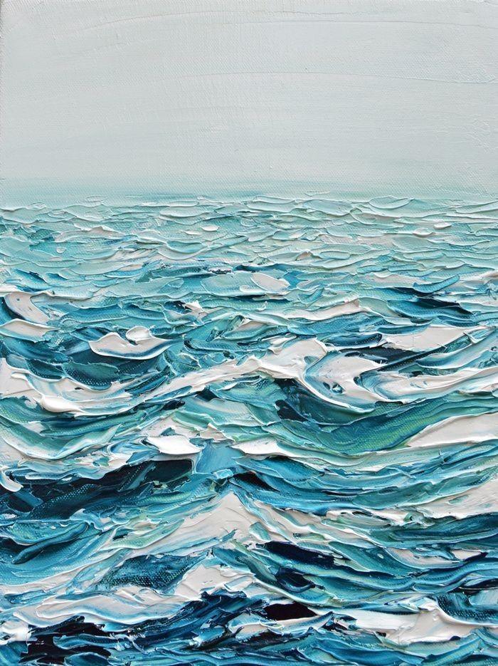 Ocean / painting texture / painting / oil paint / painting detail / blue / ocean