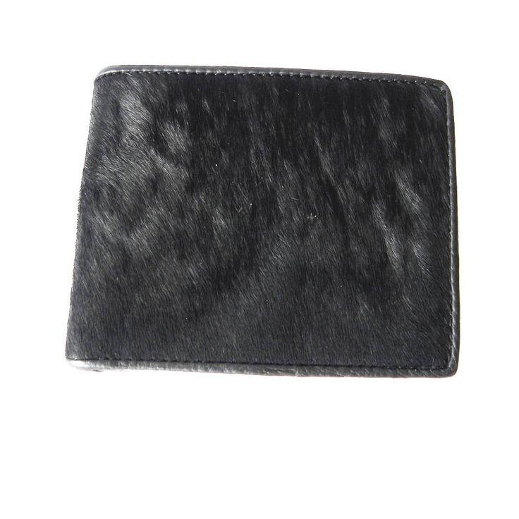 Zwarte portemonnee van koeienhuid