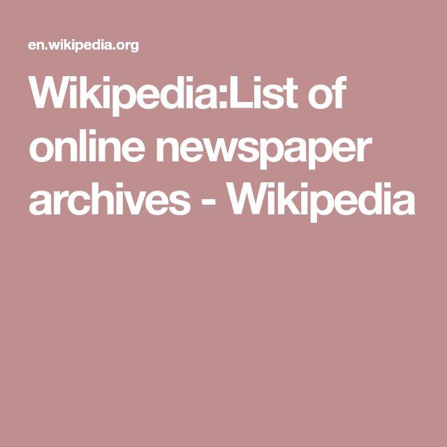 Wikipedia:List of online newspaper archives - Wikipedia