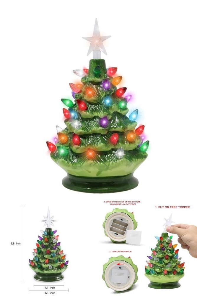 Joiedomi 9 Tabletop Prelit Ceramic Christmas Tree With Led Lights