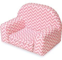 Badger Basket Upholstered Doll Chair with Foldout Bed - White/Pink Chevron - ages 3 years and up