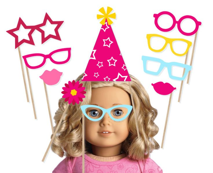 Printable American Girl Party Photo Booth Props - American Girl Photobooth - American Girl Birthday Instant Download - Doll Photo Booth by PrintablePropShop on Etsy https://www.etsy.com/listing/235568112/printable-american-girl-party-photo