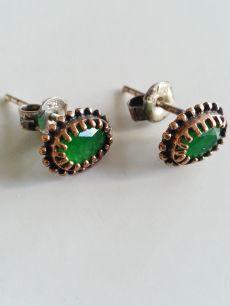 925 ayar gümüş,yeşil zirkon taşlı,tek taş vidalı küpe(KP00030)