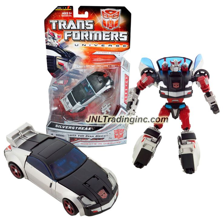 "Hasbro Transformers Universe Classic Series Deluxe Class 6"" Tall Figure - Autobot SILVERSTREAK with Volt Beam Blaster (Vehicle Mode: Sports Car)"