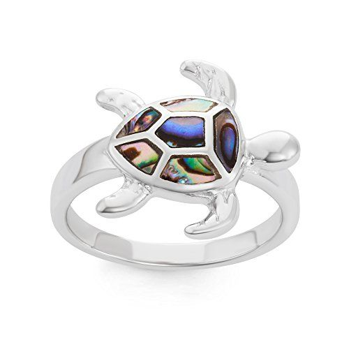 Sterling Silver Abalone Turtle Ring: