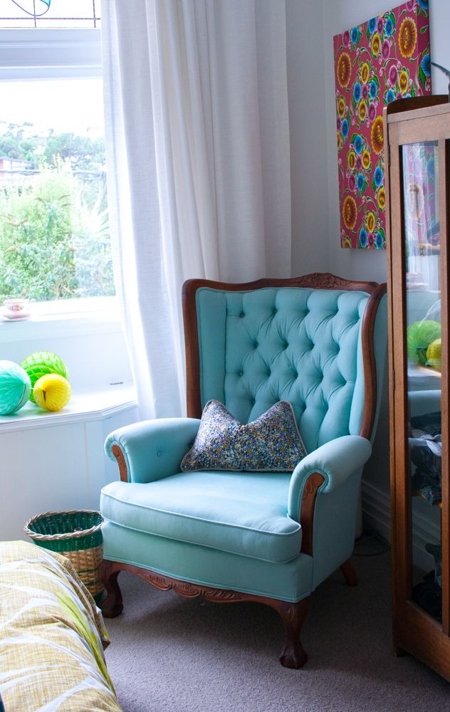 bedroom after, blue reupholstered queen anne chair