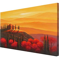 @Overstock - Give any room in your home an instant update with this hand-painted, gallery-wrapped canvas art. The lovely landscape features a sunset that adds vibrant oranges, reds and yellows to the space. It comes with mounted hangers for convenience.http://www.overstock.com/Home-Garden/Hand-painted-Sunset-Tuscany-Canvas-Art/3819362/product.html?CID=214117 $62.99