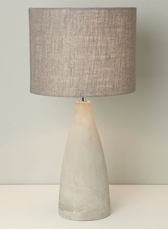 BHS // Illuminate // Fraser Table Lamp // Raw concrete table lamp with a grey hessian drum shade