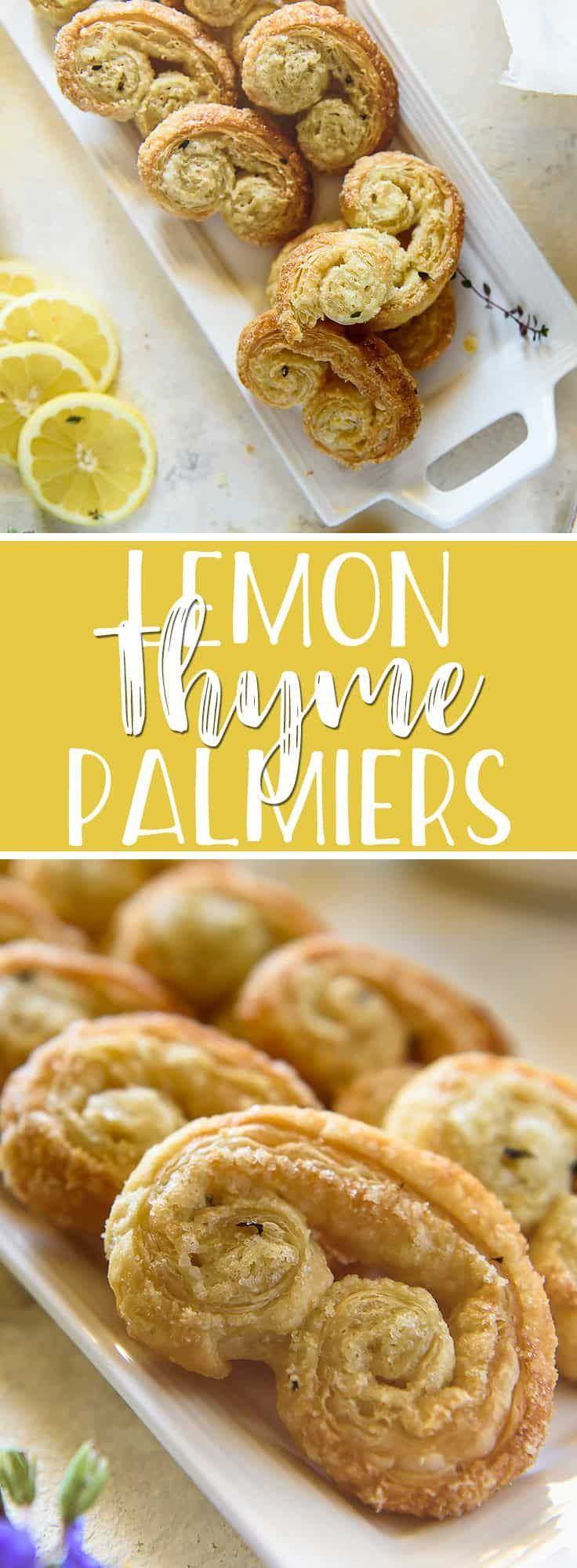 Get a sweet dose of citrus with a few of these super easy, 4-ingredient Lemon Thyme Palmiers! Sheets of buttery store-bought puff pastry are transformed into crispy springtime treats with some help from a bit of sugar, lemon zest, and fresh thyme. #sponsored #inspiredbypuff #puffpastry #lemon #thyme #palmier #elephantears #pastry #springdessert #brunch #springtime #recipe