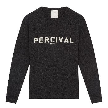 Navy Marl Percival Knitted Jumper: On a heathered charcoal base, this crew neck jumper has been knitted with 'PERCIVAL' lettering and logo across the chest. The warm, cosy jumper comes in a neat fit that's ideal for layering under coats and jacket.
