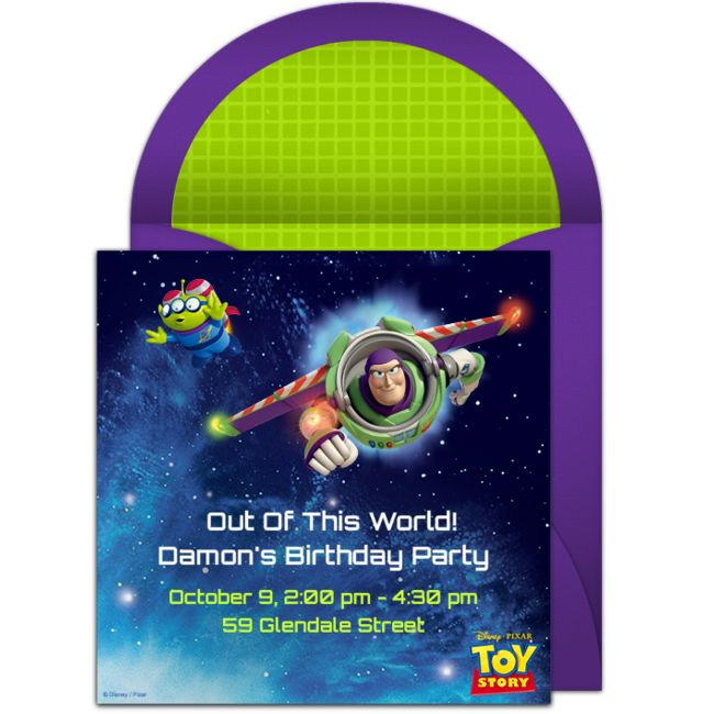 Free Toy Story birthday party invitation with an outer space design. Love this design for a Toy Story birthday or space birthday party.