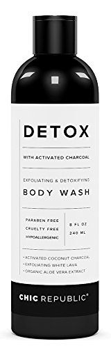 Natural Body Wash with Activated Coconut Charcoal, Exfoliating Wash White Lava, & Aloe Vera Plant Extract, as a Detox & Hypoallergenic Body Wash, for Skin Rejuvenation, Sensitive Skin, Women Men  ACTIVATED COCONUT CHARCOAL FOR SKIN DETOX: The natural, deep cleansing activated coconut charcoal removes toxins by drawing out and trapping impurities, releasing clogged pores to breathe life into your skin again. It also works as natural exfoliator to remove dead skin cells, with antimicrobi...