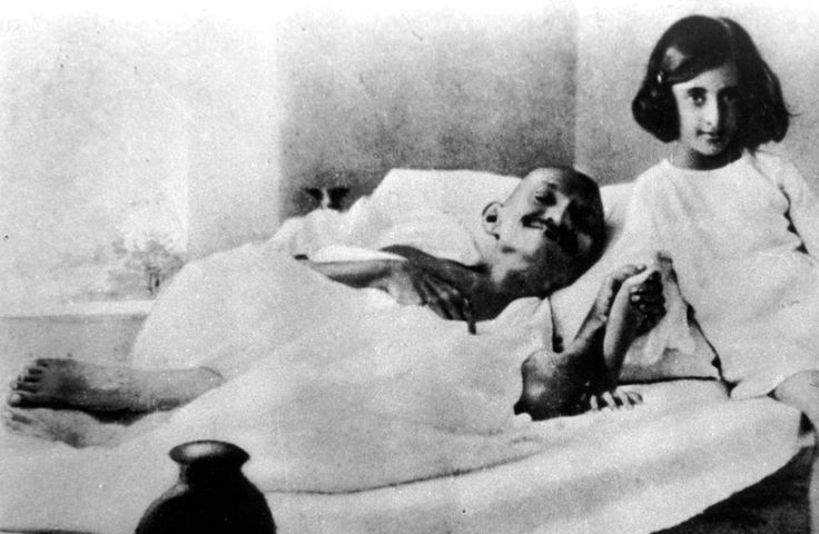 1924: Mahatma Gandhi with Young Priyadarshini (Indira Gandhi), who went on to become India's first woman prime minister.