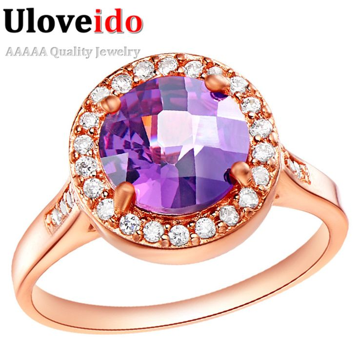 Find More Rings Information about Rose Gold Plated Rings for Women with Purple…