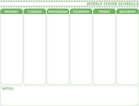 Weekly Chore Schedule free printable plan – One Week Planner Template