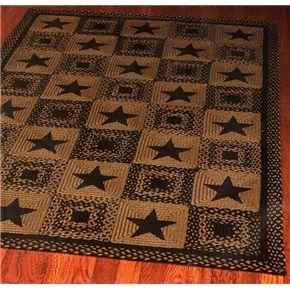 New Primitive Country Jute Braided Star Rug Black Tan Floor Mat 20 X 30