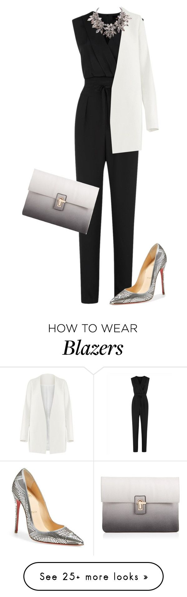 """Untitled #1450"" by little-wrecked-soul on Polyvore featuring Jaeger, Lipsy, Non and Christian Louboutin"