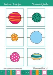 Citovaardigheden voor kleuters, 9 kaarten met reeksen, kleuteridee.nl , met lessuggesties, series for preschool, cards.