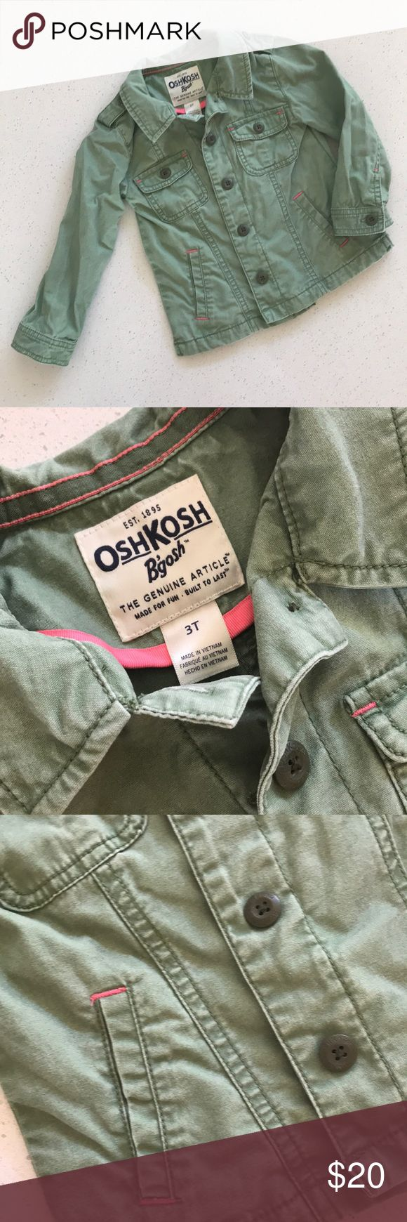 Olive Khaki Toddler Jacket Osh Kosh on trend khaki jacket. Washed but never worn. Pink piping and soft. Osh Kosh Jackets & Coats