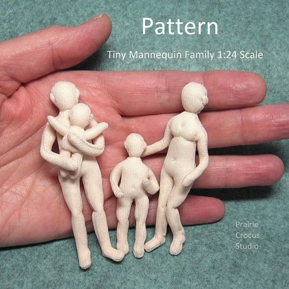 Printed pattern 1:24 scale Tiny Mannequin Family posable cloth doll family half inch scale basic bodies man, woman, child, baby