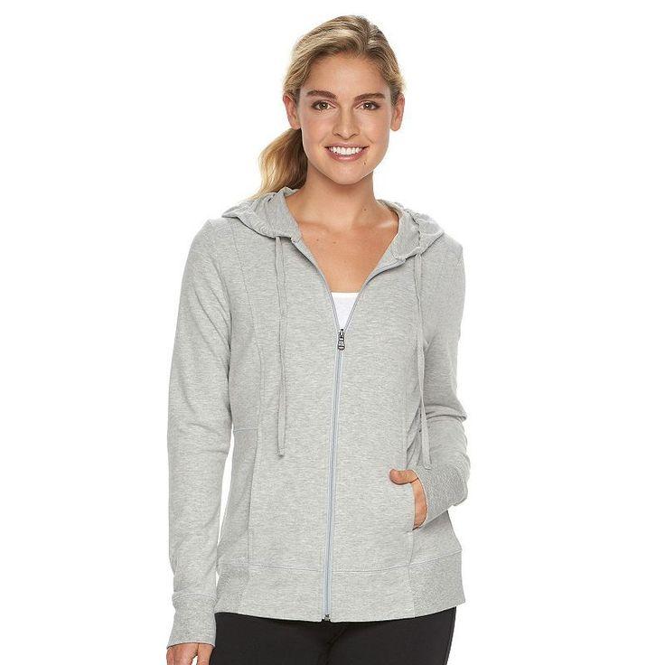 Petite Tek Gear® Dry Tek Zip-Front Hoodie, Women's, Size: Xl Petite, Med Grey