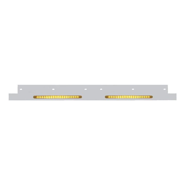 Kenworth Lower Grill Trim w/ LED Reflector Light Bar - Amber LED/Amber Lens