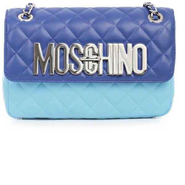 Moschino Bag ($690) ❤ liked on Polyvore featuring bags, handbags, bluette light blue, blue leather handbags, leather handbags, genuine leather purse, light blue leather purse and blue handbags