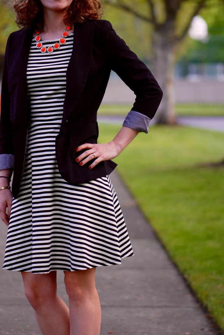 Fit and flare dress with blazer fashion