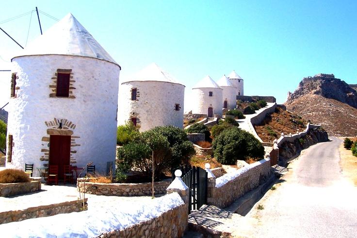Windmills and castle - Leros Island (Greece)