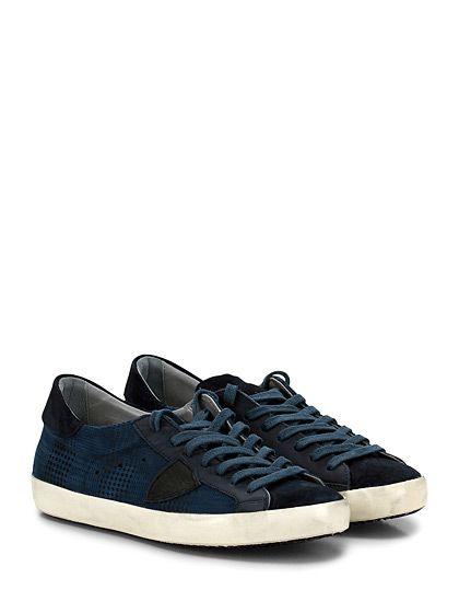 PHILIPPE MODEL PARIS - Sneakers - Uomo - Sneaker in pelle e camoscio stampato con logo cucito su lato esterno e su linguetta. Suola in gomma, tacco 25. - BLU - € 260.00