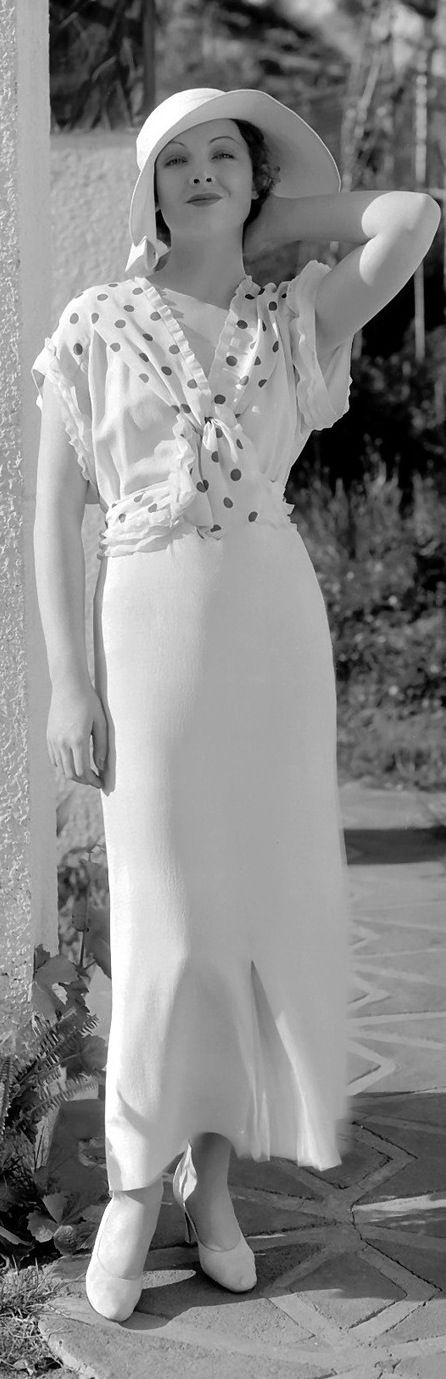 ~Myrna Loy, 1930s photo print ad white day dress with polka dots long floppy hat movie star model~