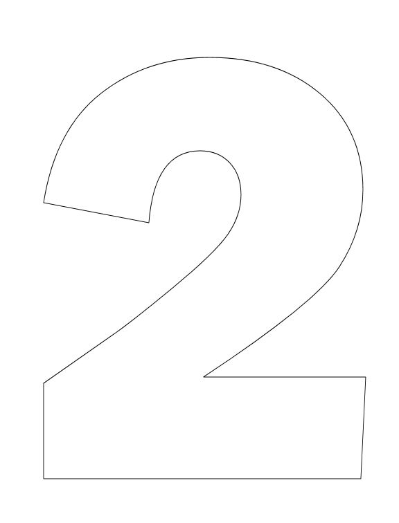 Number Pictures to Color: Number 2 Coloring Page