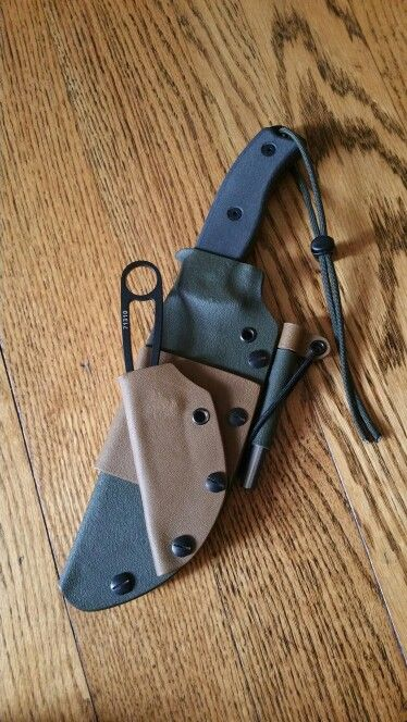 My ESEE 6 with an IZULA piggyback and Firesteel.com firesteel in my self made Kydex taco sheath set up for scout carry