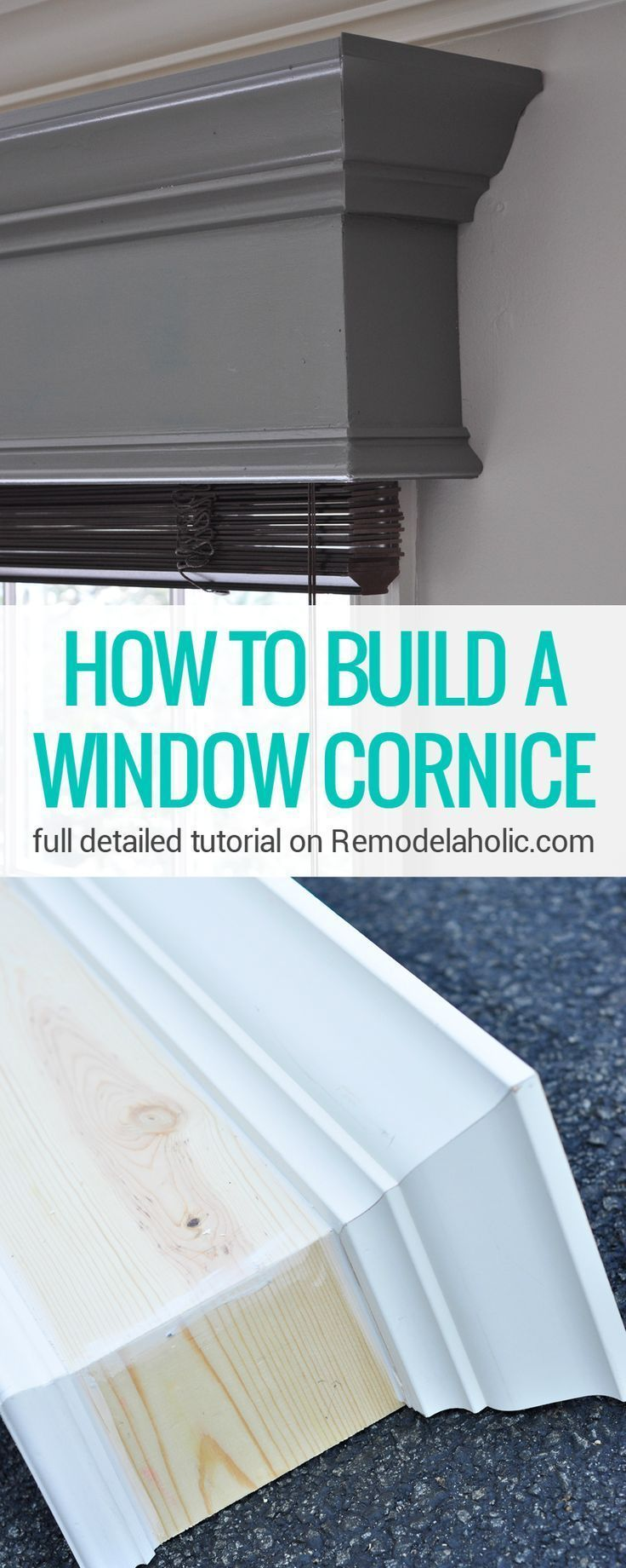 This DIY window cornice gives windows a MAJOR new look! Full detailed step-by-step photo tutorial on Remodelaholic.com #DIY #Home