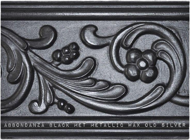 Abbondanza krijtverf Black met Metallic Wax Old Silver