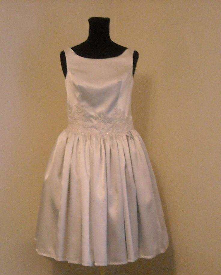 Abito da sposa vintage,abito da sposa semplice,vestito per matrimonio in comune,abito in satin da sposa elegante,cerimonia di MAQUELLA su Etsy