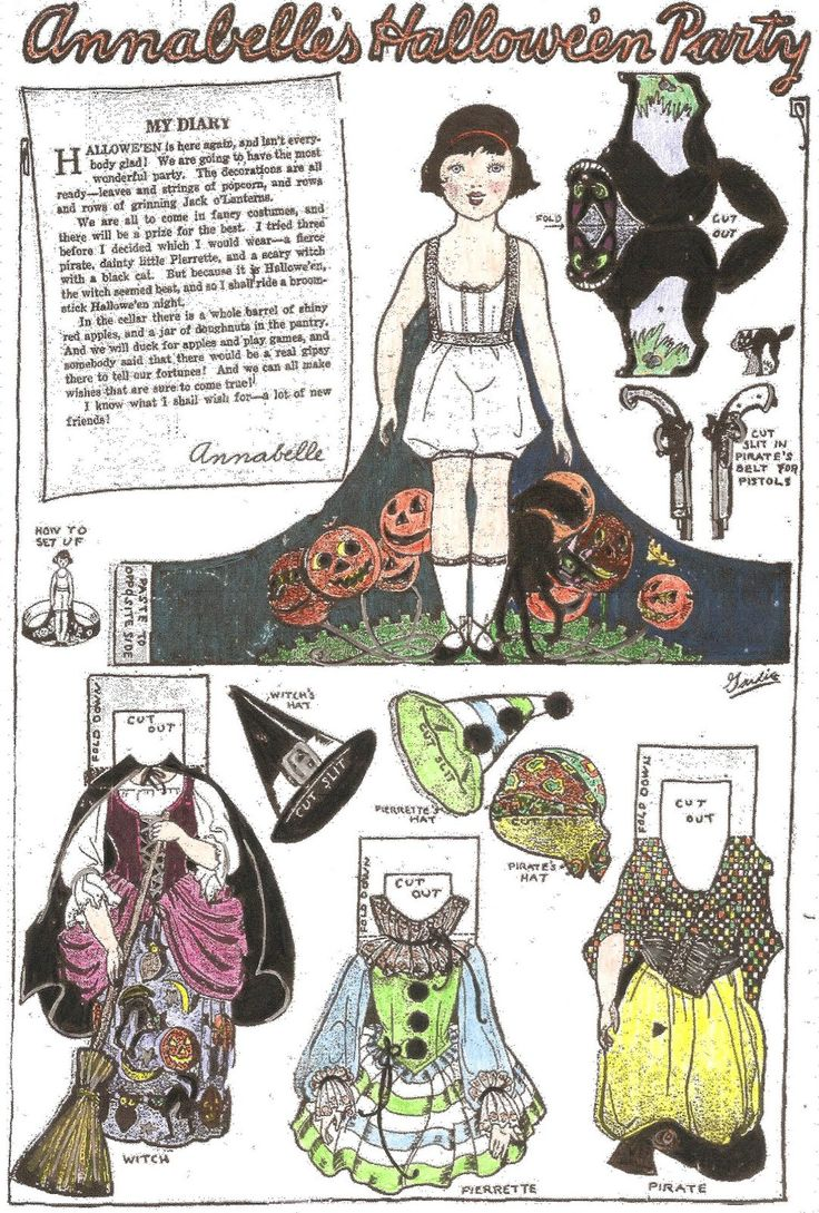 From the newspaper paper doll series. This Annabelle paper doll, celebrating Hallowe'en, was in the newspaper on November 27, 1926!