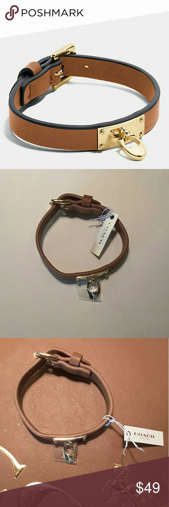 "Coach Signature C Leather Buckle Bracelet NWT Beautiful Coach Saddle Color Leather Buckle Bracelet With Gleaming Gold-Tone Letter C Charm NWT, Never Worn, Sleek Understated Bracelet With Coach Logo Engraved On Inside, Adjustable Band, Apx .5"" Width, Please See 4th Picture For Apx Length Of Band, Light Gold-Tone Hardware, Comes With Coach Jewelry Care Booklet Coach Jewelry Bracelets"