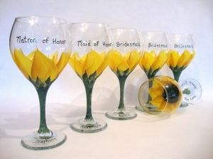 Sunflower Wedding Bouquets | Sunflower wedding glasses by colleenscdmr  WE COULD DO THIS!