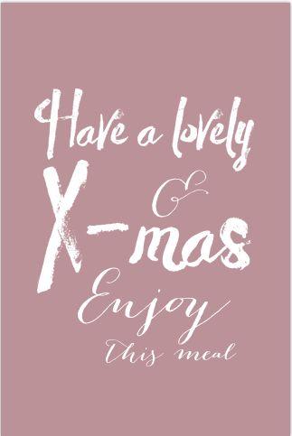 Hippe kerst menukaart met x-mas spreuk in handlettering. Gratis verzending in Nederland en België.