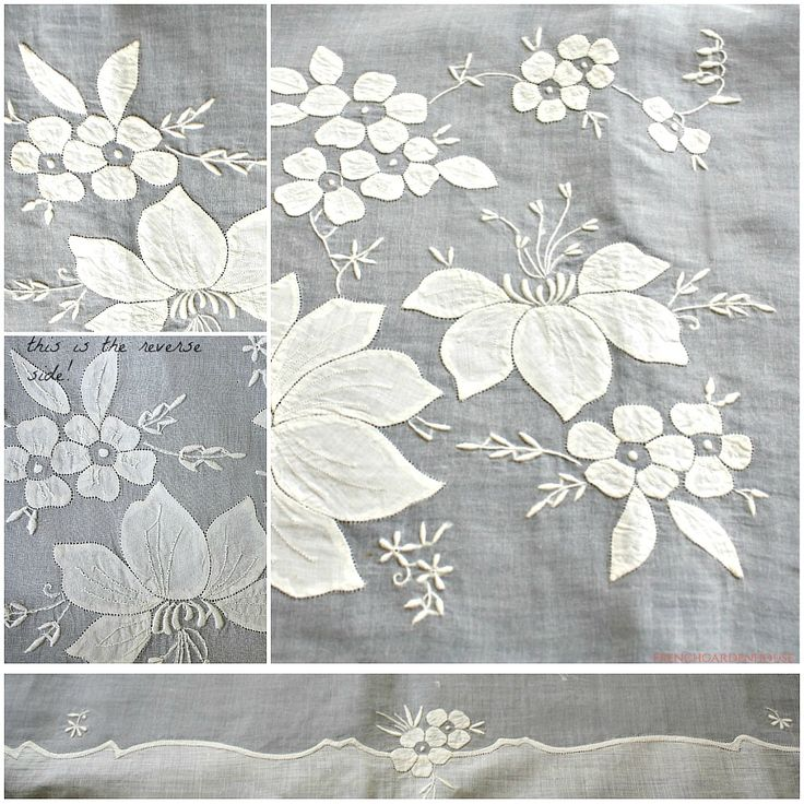 Vintage Organdy Madeira Floral Linen Embroidered Tablecloth