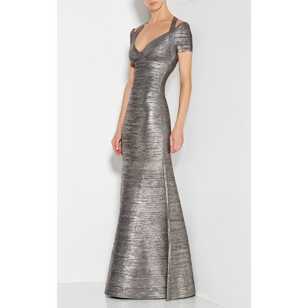 Herve Leger Colette Woodgrain Foil Print Gown ($1,990) ❤ liked on Polyvore featuring dresses, gowns, silver, sleeved dresses, halter evening gowns, off the shoulder dress, off the shoulder evening gown and off shoulder gown