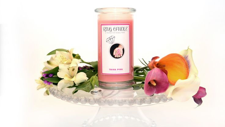 "Think Pink Ring Candle  With our new Ring Candles you can now pick your own ring size =) A Perfect Fit Every Time!   If you love Victoria Secrets ""Love Spell"" that is exactly what this smells like! This is a very important candle with a very important cause, Breast Cancer Research and Awareness! This wonderful scent is a sweet bouquet of mandarin, bergamot & orange enhanced by hints of peach & berries on an undertone of musk."